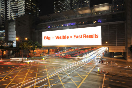 "A billboard on a busy street which reads ""Big + Visible = Fast Results"""